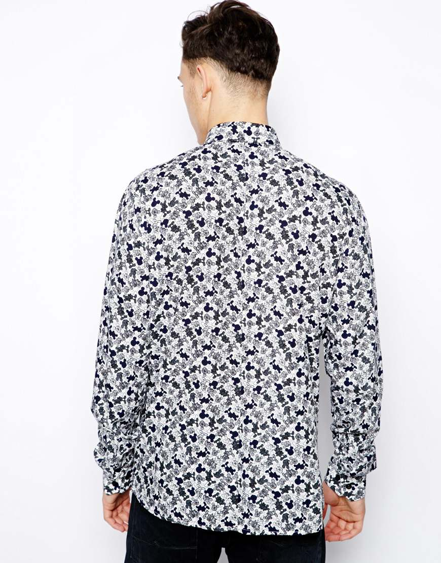 eleven paris shirt with repeat mickey print in black for men lyst. Black Bedroom Furniture Sets. Home Design Ideas