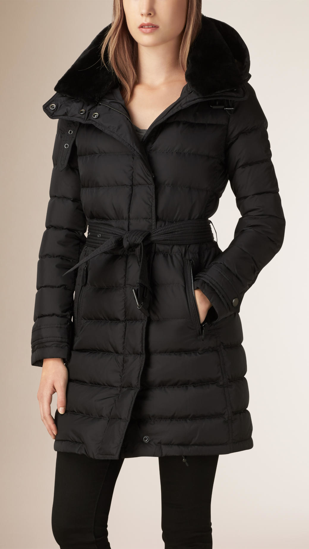 Burberry Down-filled Coat With Shearling Collar in Black | Lyst