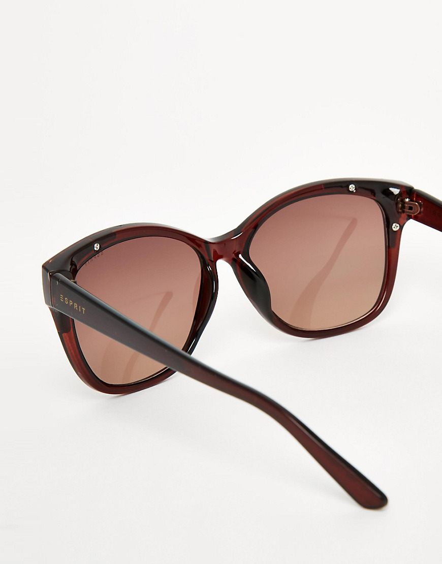 Lyst - Esprit Cat Eye Gold Trim Sunglasses in Brown 18683a336f