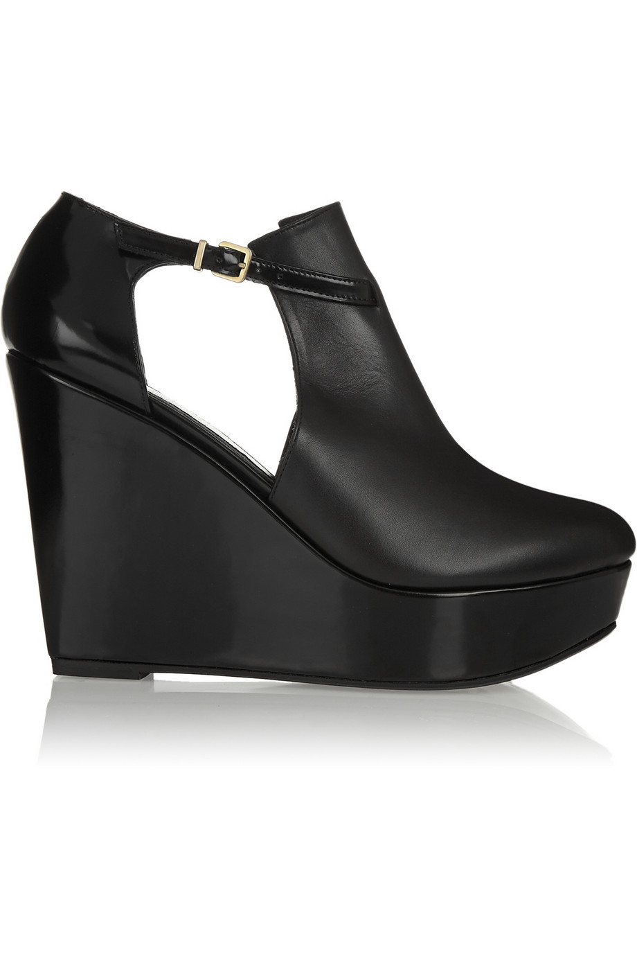 a724099163d Lyst - Robert Clergerie Filona Cutout Leather Wedge Boots in Black