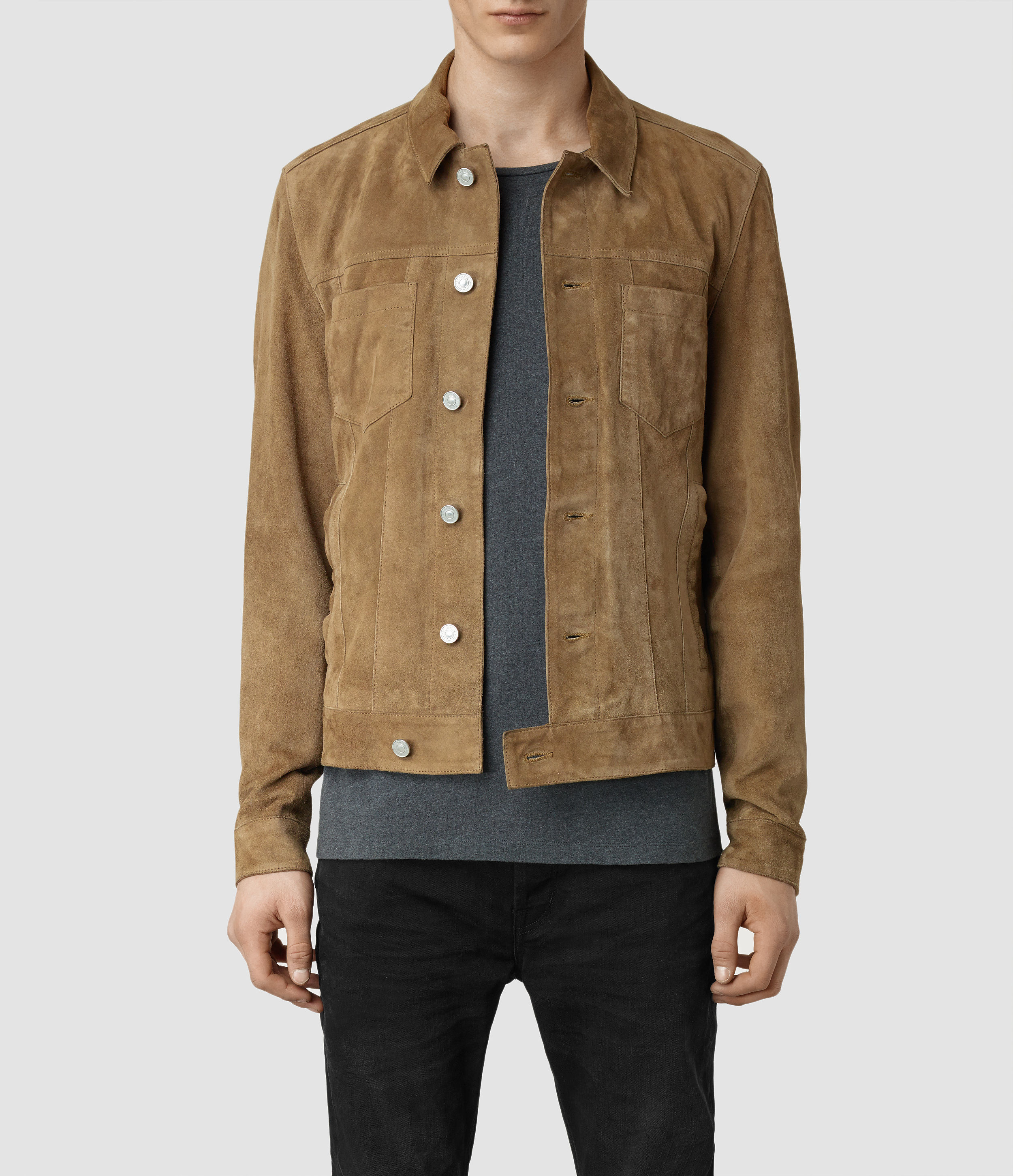 Lyst Allsaints Ocarno Suede Jacket In Natural For Men