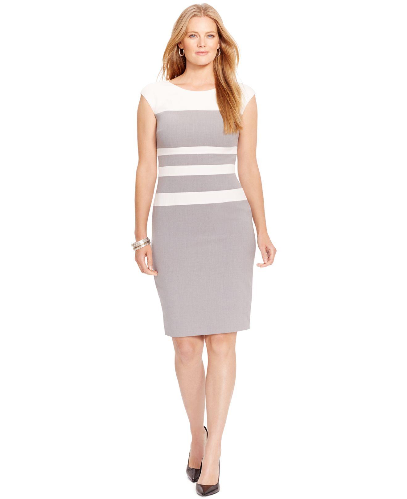 Lyst Lauren By Ralph Lauren Plus Size Cap Sleeve Colorblocked