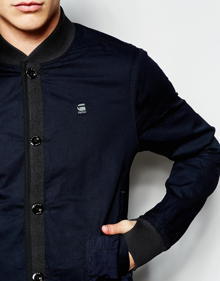 g star raw overshirt jacket submarine bomber battle twill in blue for men lyst. Black Bedroom Furniture Sets. Home Design Ideas