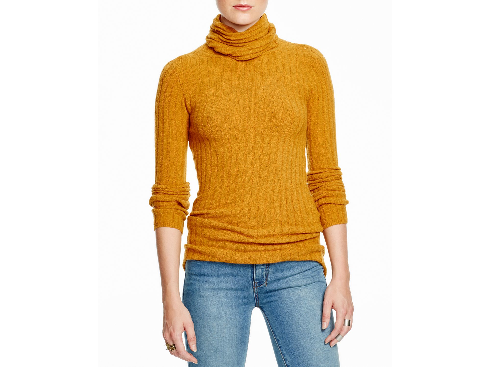 Free people Ribbed Turtleneck in Yellow | Lyst