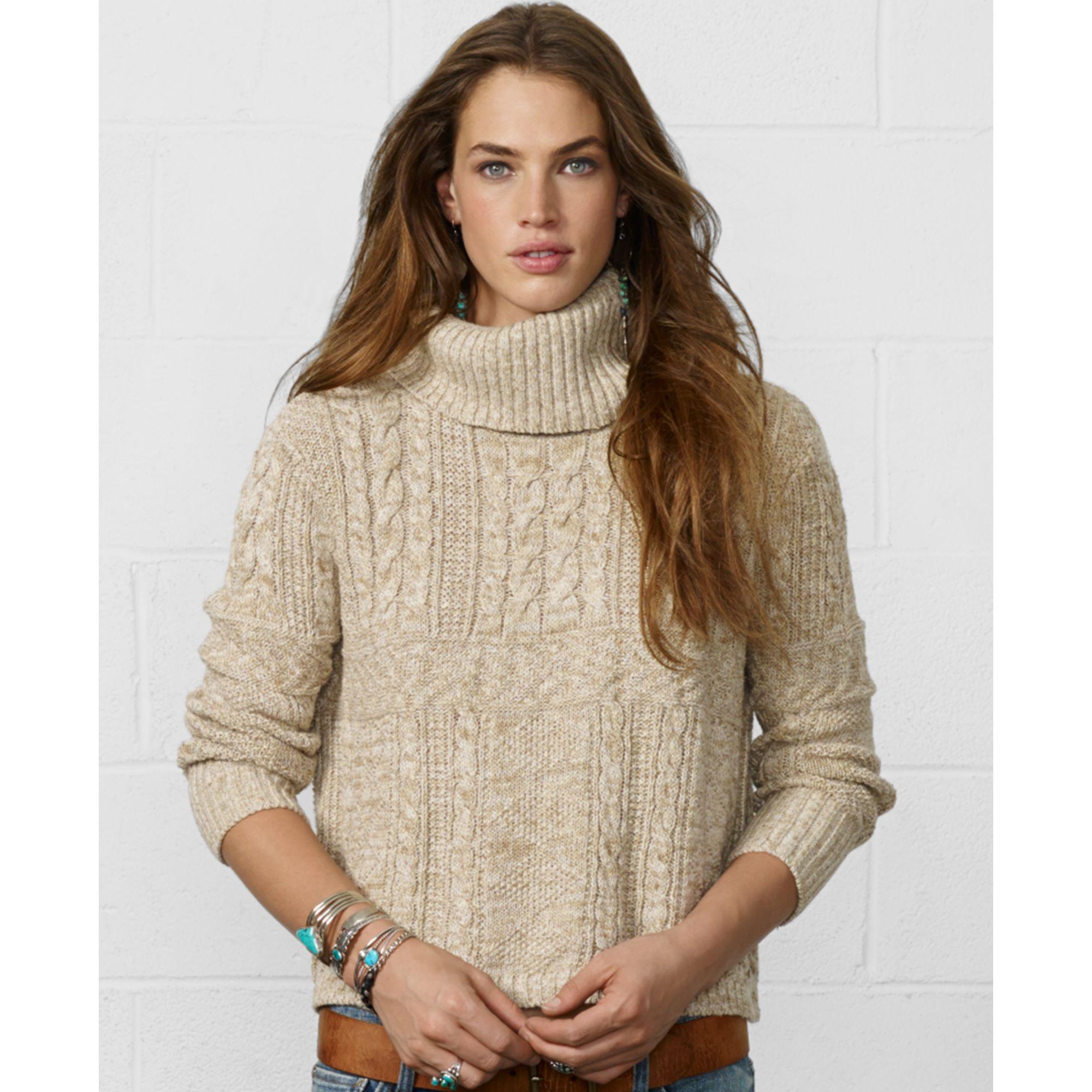 Denim & supply ralph lauren Cropped Cableknit Turtleneck Sweater ...