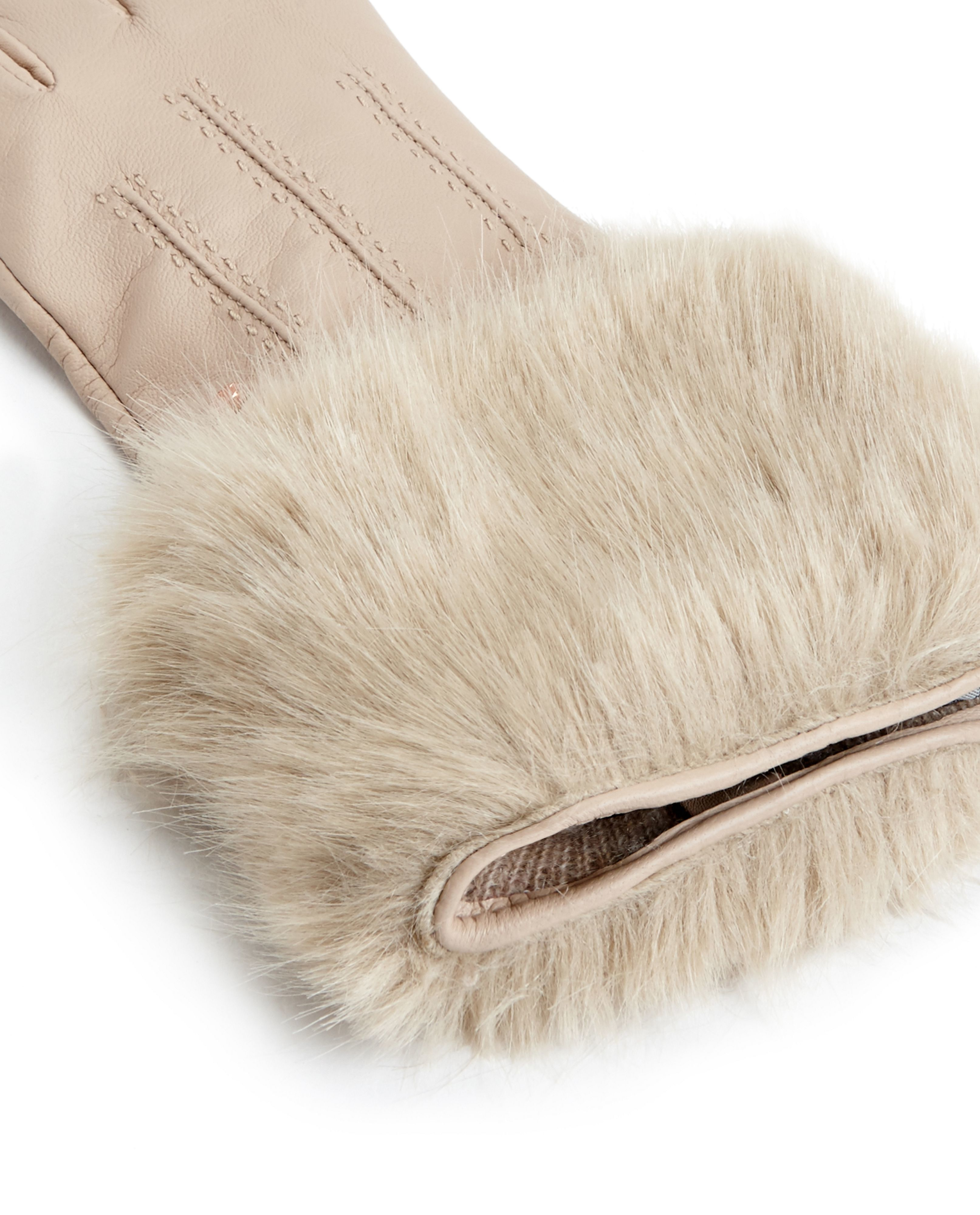 Womens beige leather gloves -  Ted Baker Jania Faux Fur Leather Gloves In Natural Lyst Beige