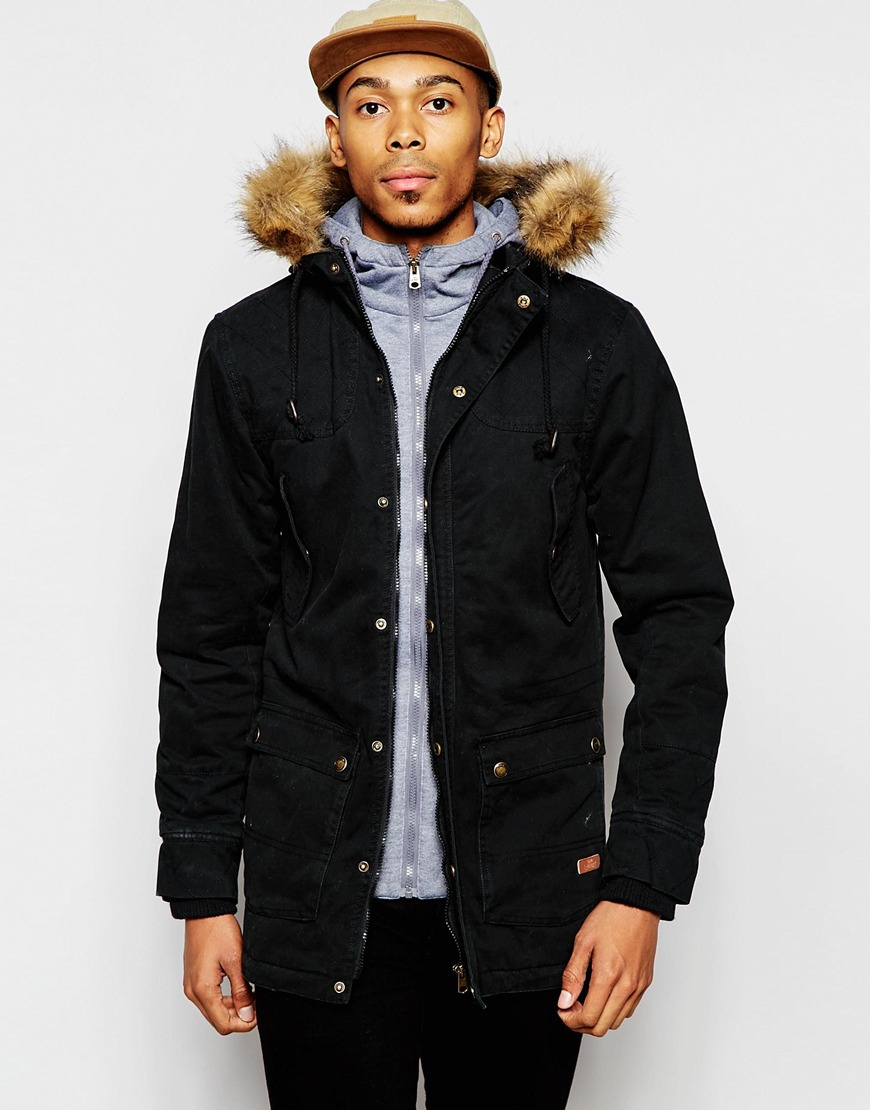 Tokyo laundry Parka Jacket With Faux Fur Trim Hood in Black for ...