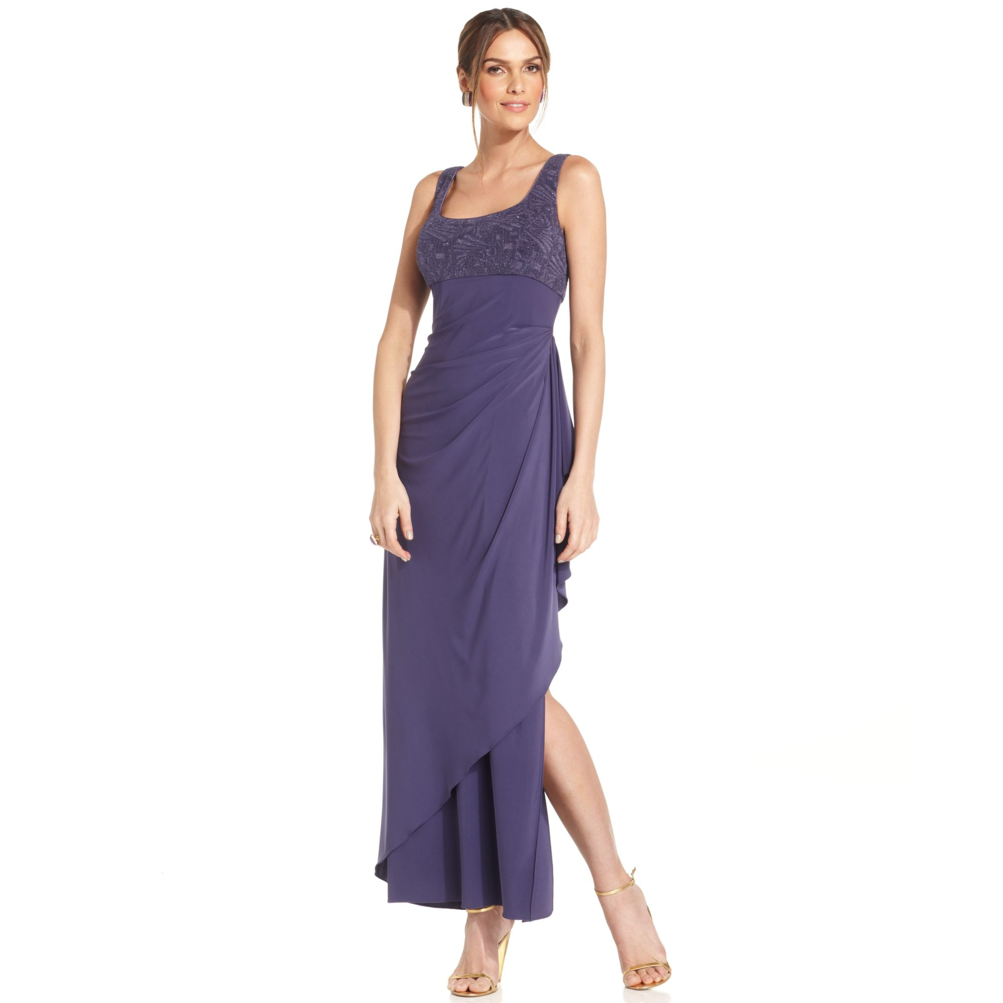 Lyst Alex Evenings Petite Sleeveless Glitter Gown And Jacket In Purple