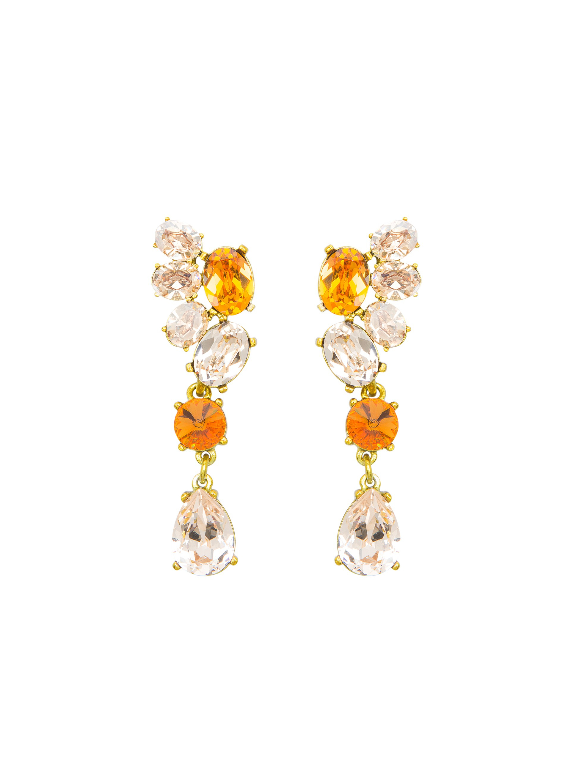861bc84c7c4b Lyst - Oscar de la Renta Swarovski Crystal Asymmetrical Earrings