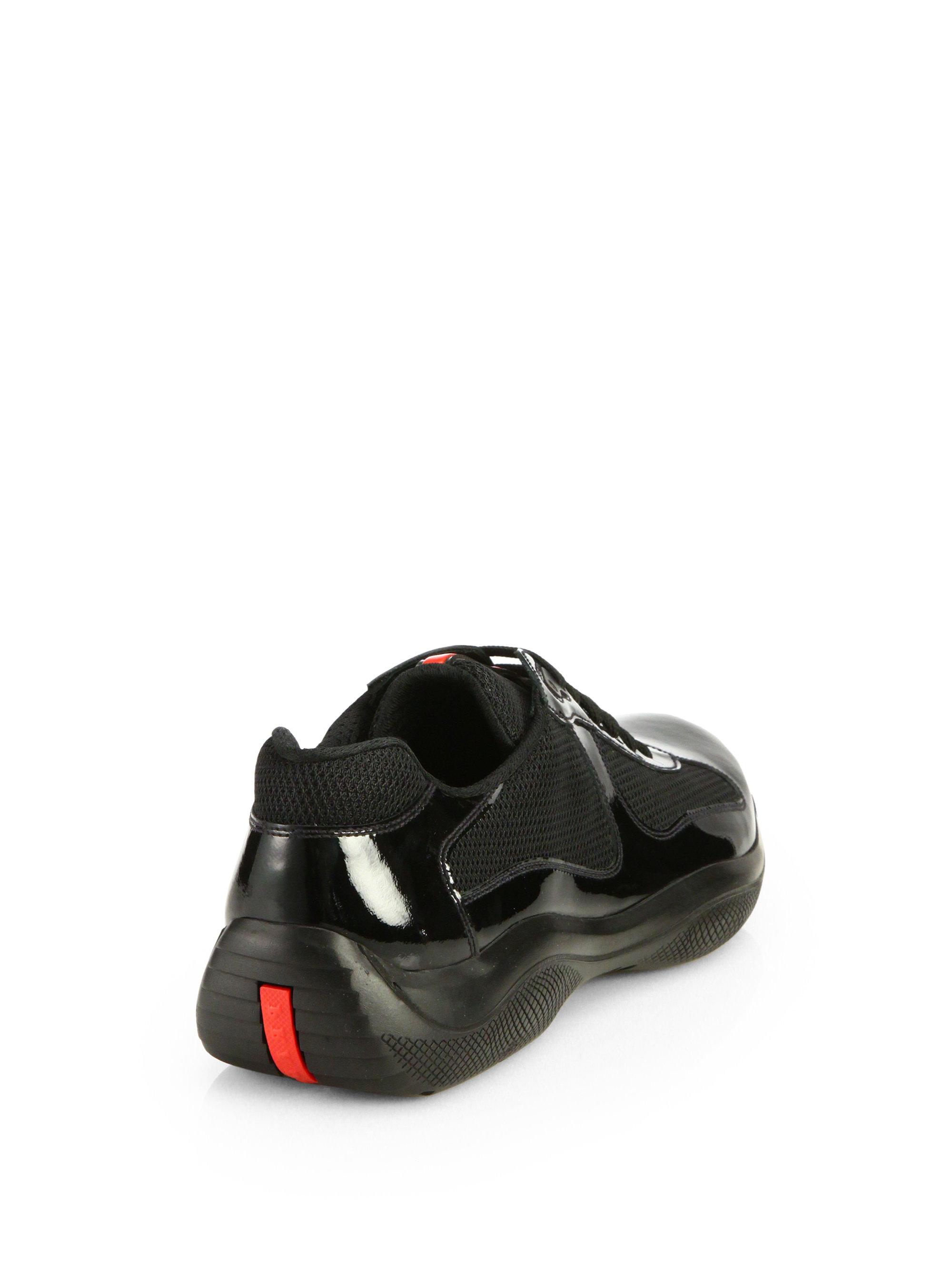lyst prada patent americas cup sneakers in black for men