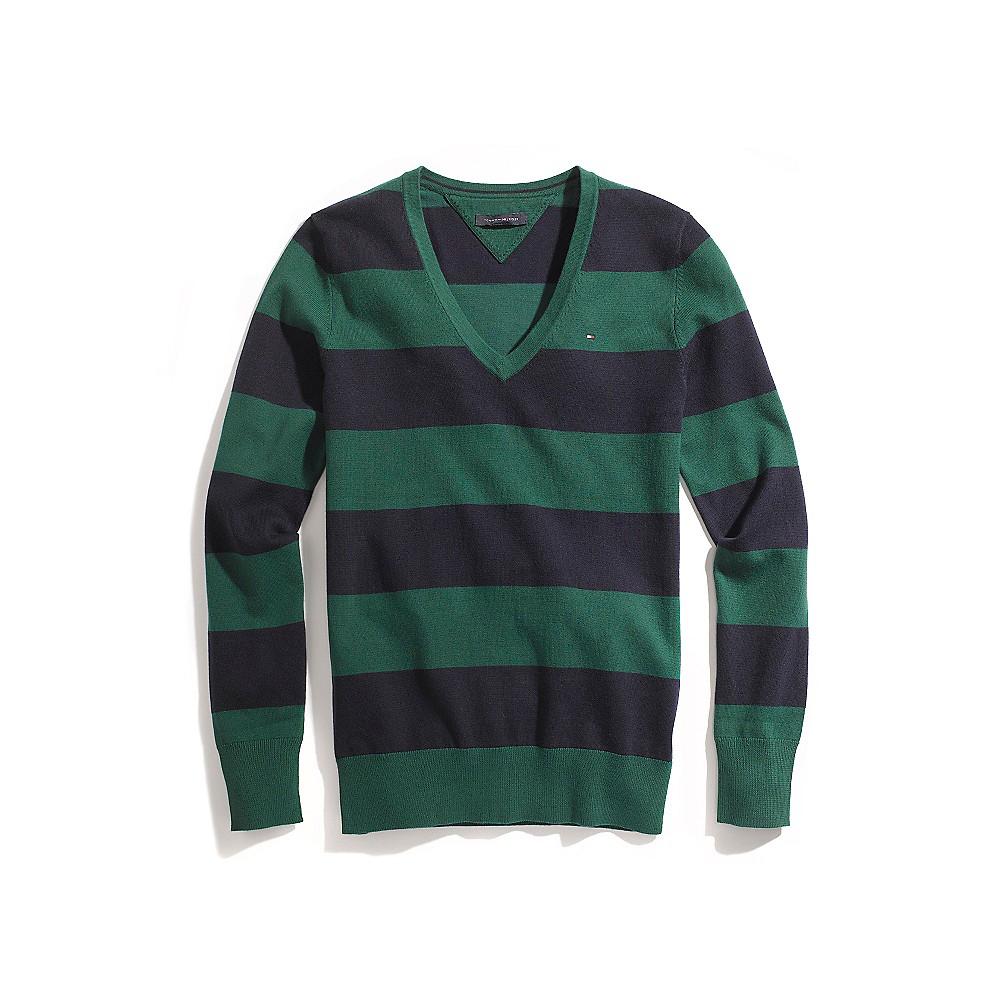 Tommy Hilfiger Rugby Stripe V-Neck Sweater In Green