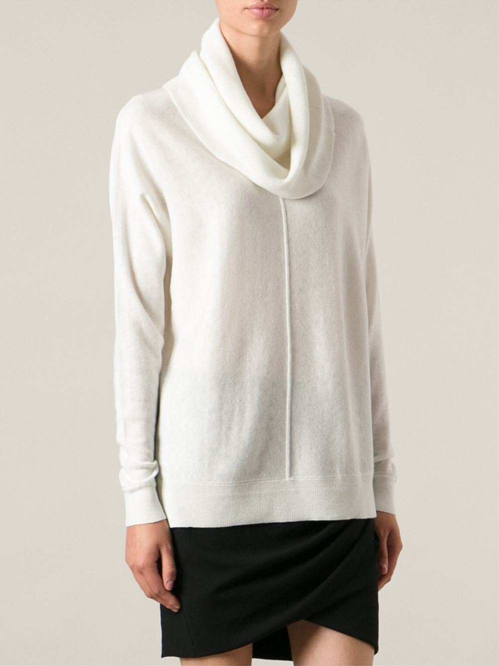 Vince Cowl Neck Sweater in White | Lyst
