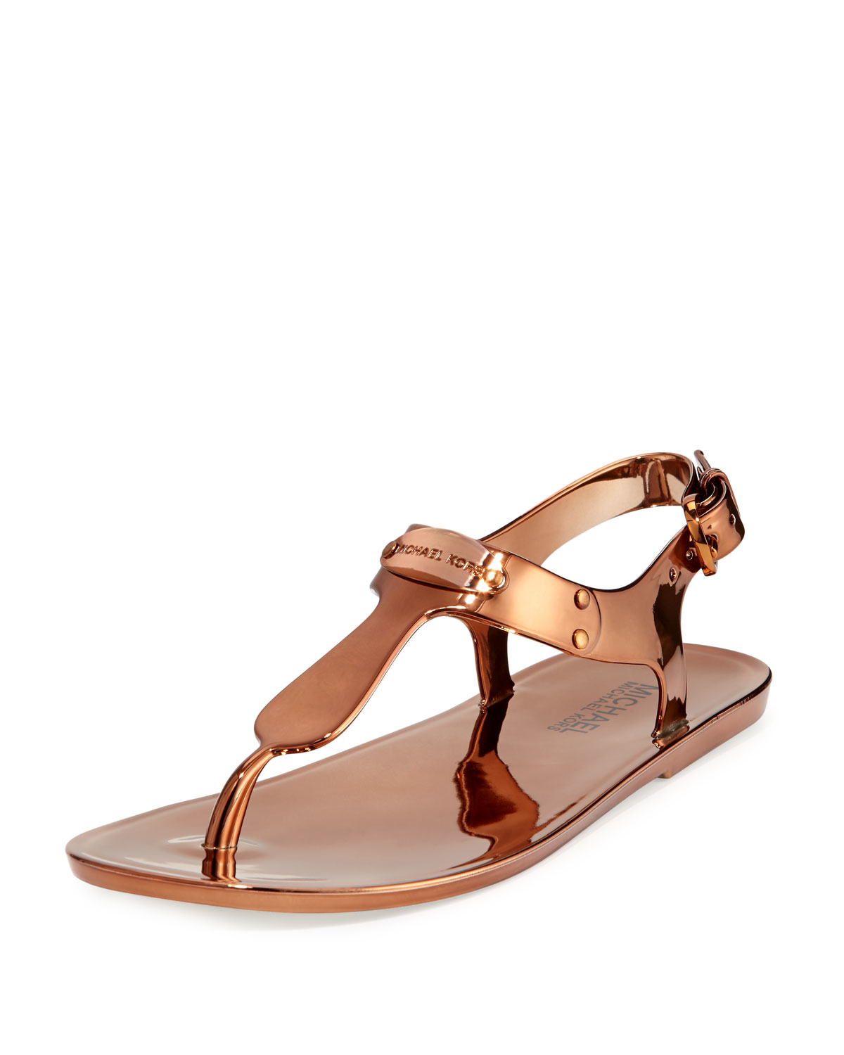 8842f76519797 Lyst - MICHAEL Michael Kors MK-Plate Jelly Sandals in Brown