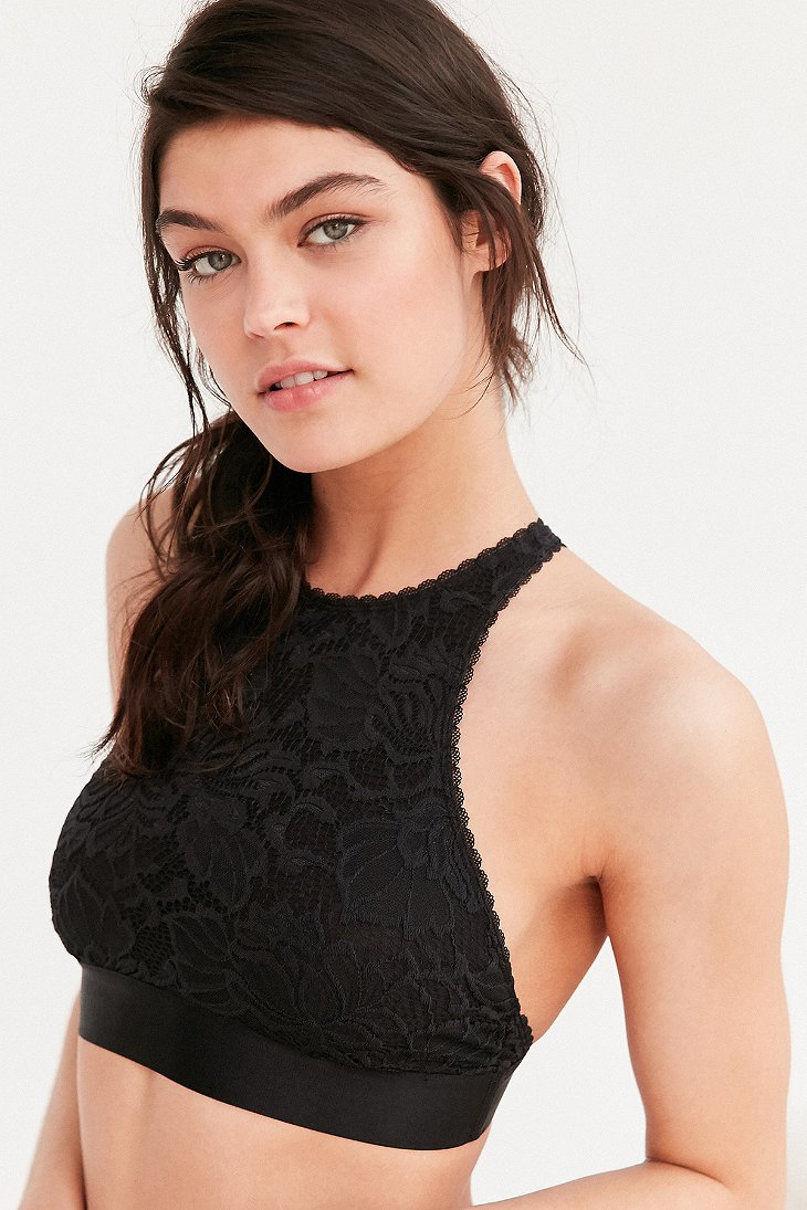 Out From Under Katia Lace High Neck Bra In Black Lyst