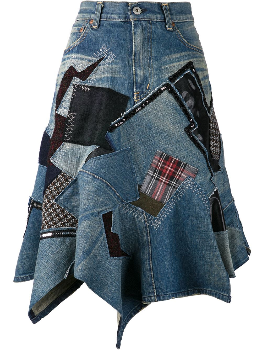 junya watanabe patch denim skirt in blue lyst