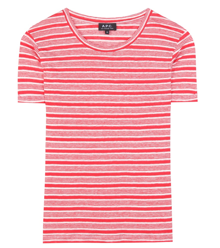 A p c striped linen t shirt in red lyst for Apc white t shirt