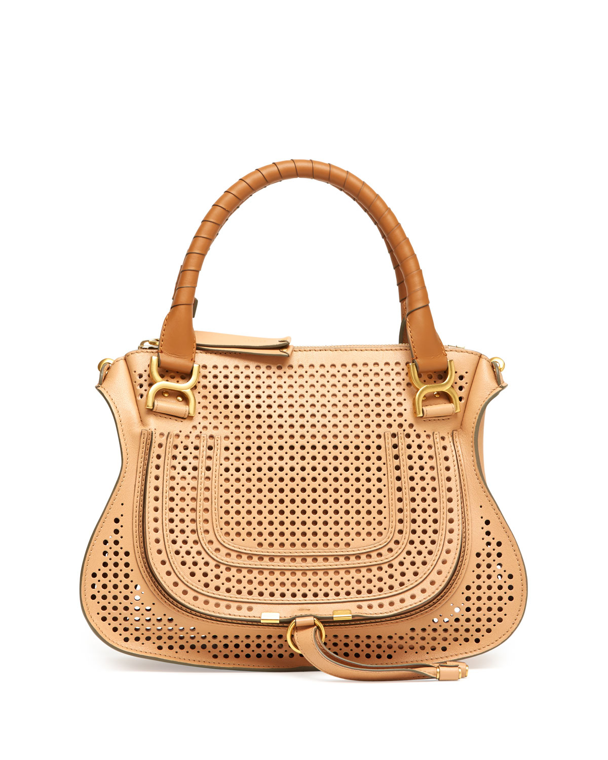 a553b1e32321 Lyst - Chloé Marcie Perforated Medium Shoulder Bag Brown in Brown