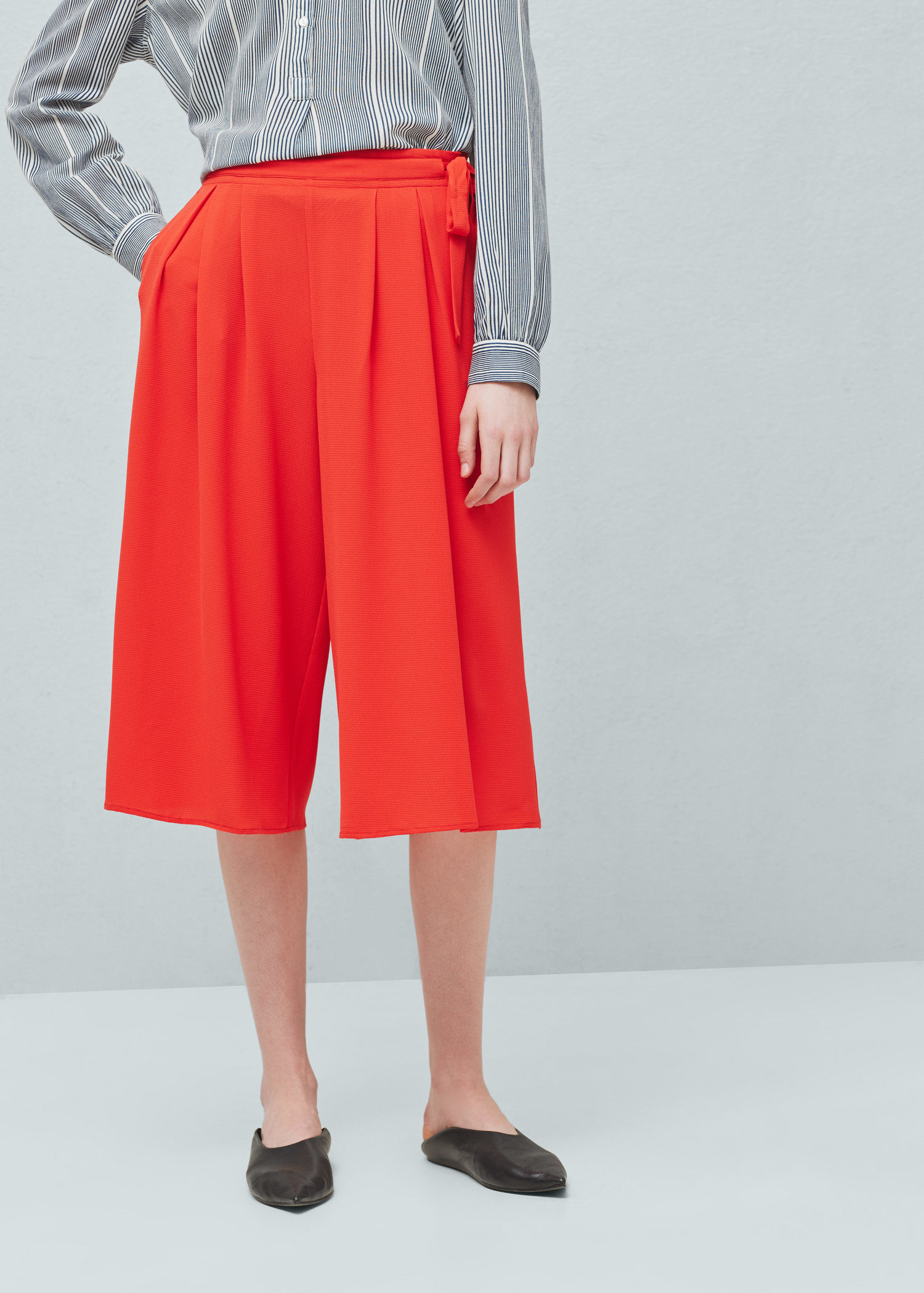 Lyst - Mango Cropped Palazzo Trousers in Red