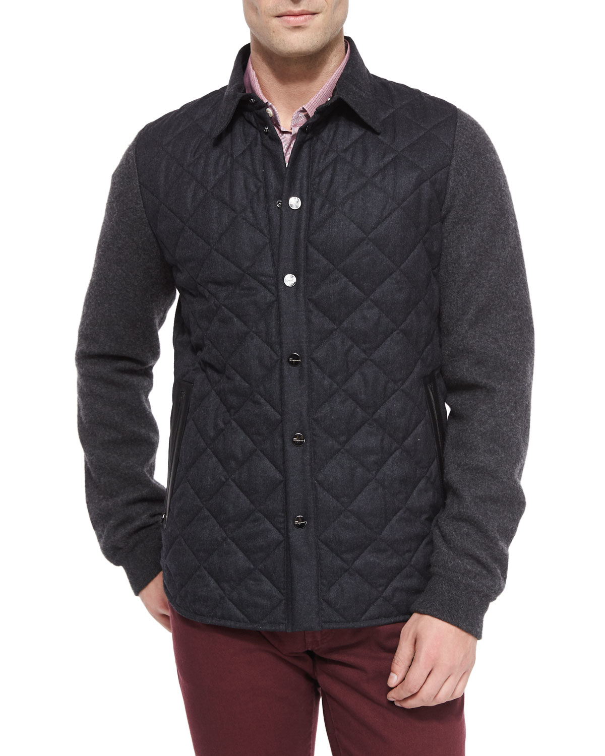 Lyst Ferragamo Quilted Flannel Snap Front Jacket In Gray