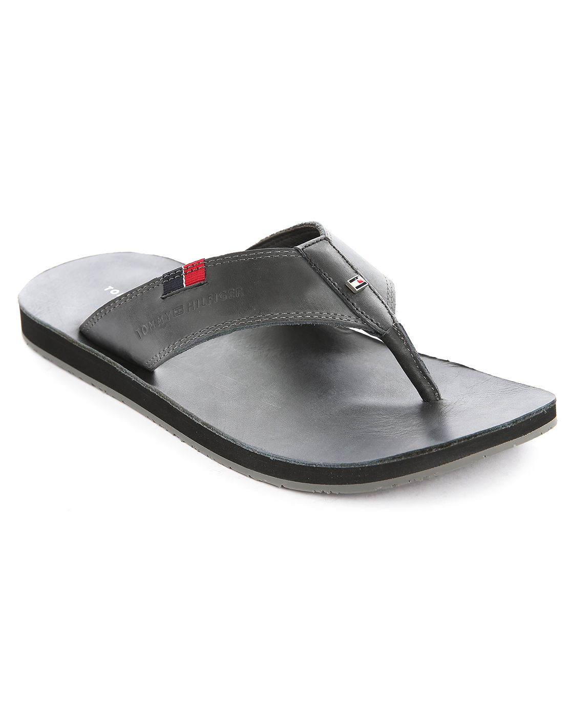 tommy hilfiger timsbury black leather flip flops in black. Black Bedroom Furniture Sets. Home Design Ideas