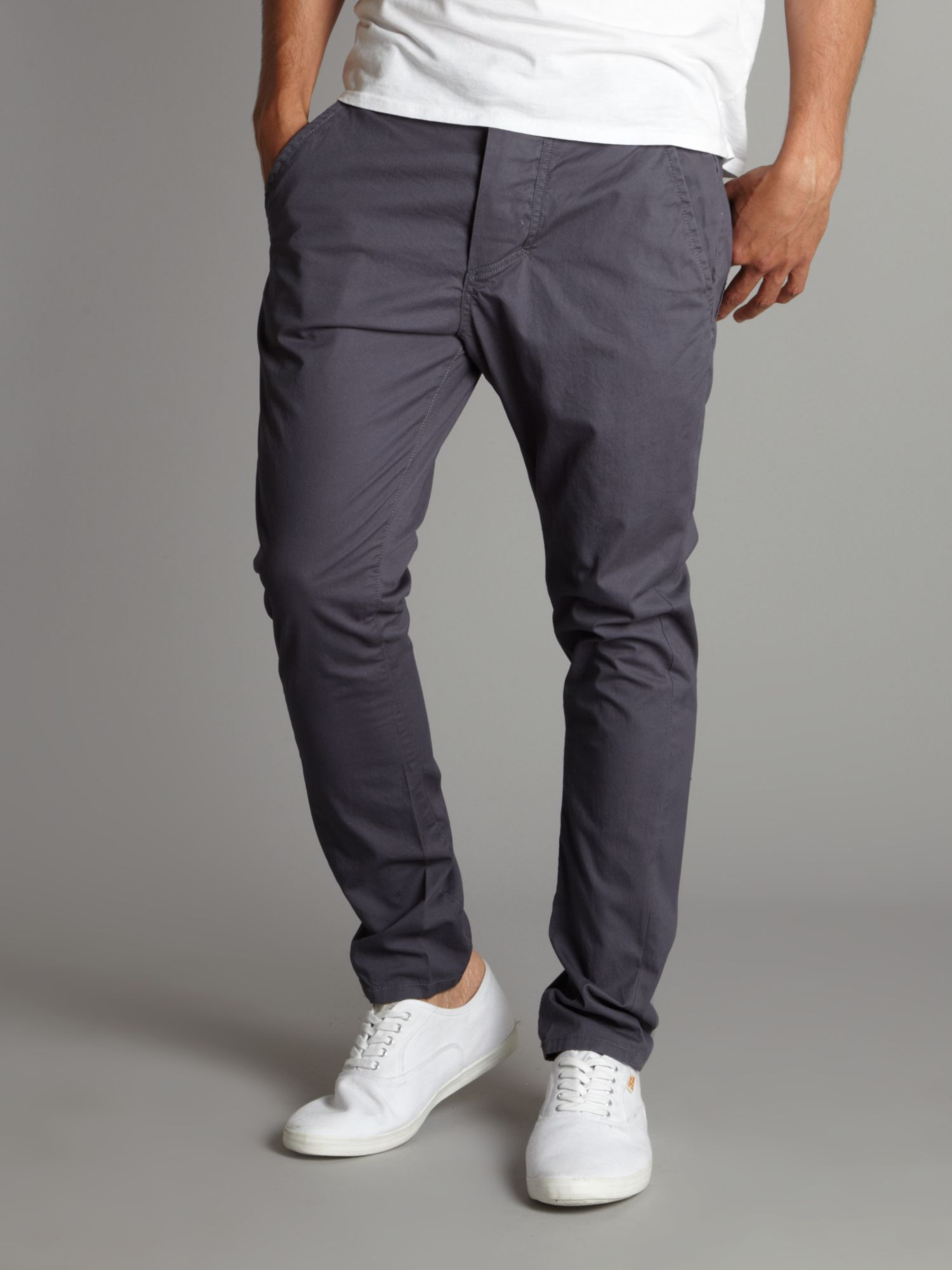 Bench Twist Leg Skinny Carrot Chino Trousers in Blue for Men | Lyst