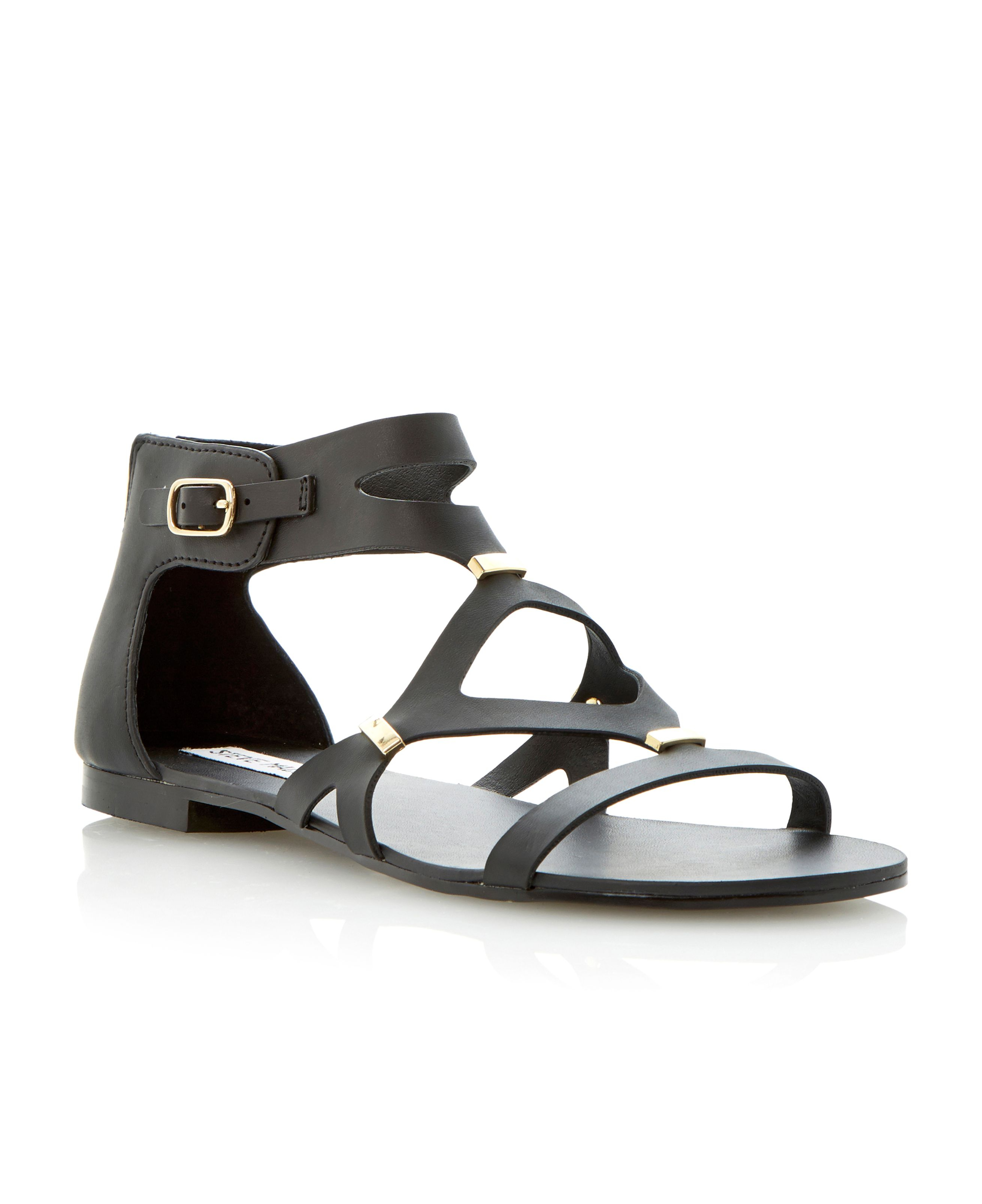 steve madden comma leather strappy gladiator flat sandals