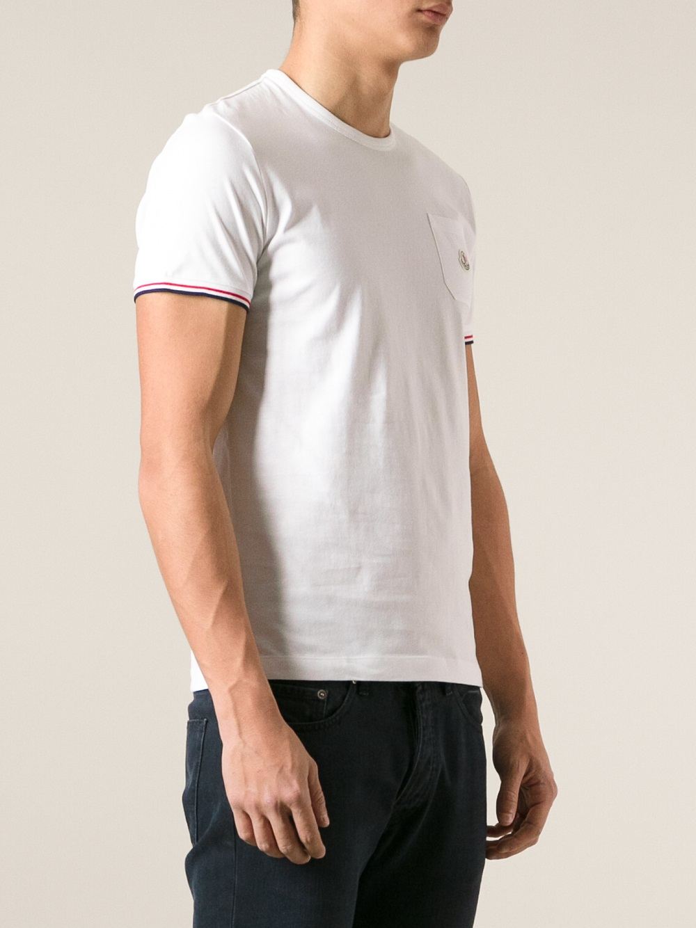 Lyst moncler classic t shirt in white for men for Off white moncler t shirt