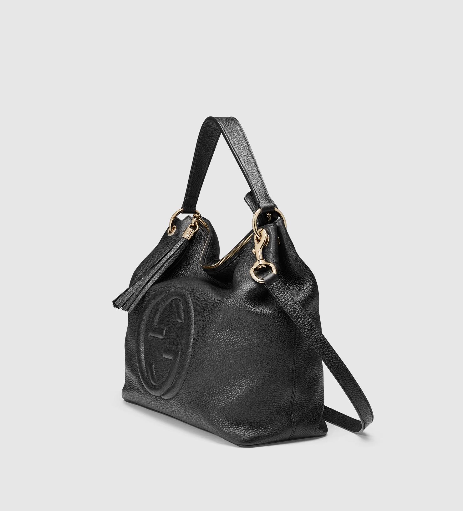 5775f9c40c37 Lyst - Gucci Soho Leather Hobo in Black