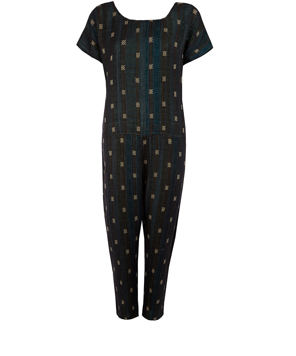 Lyst Ace Jig Navy Checker Dot V Back Jumpsuit In Blue