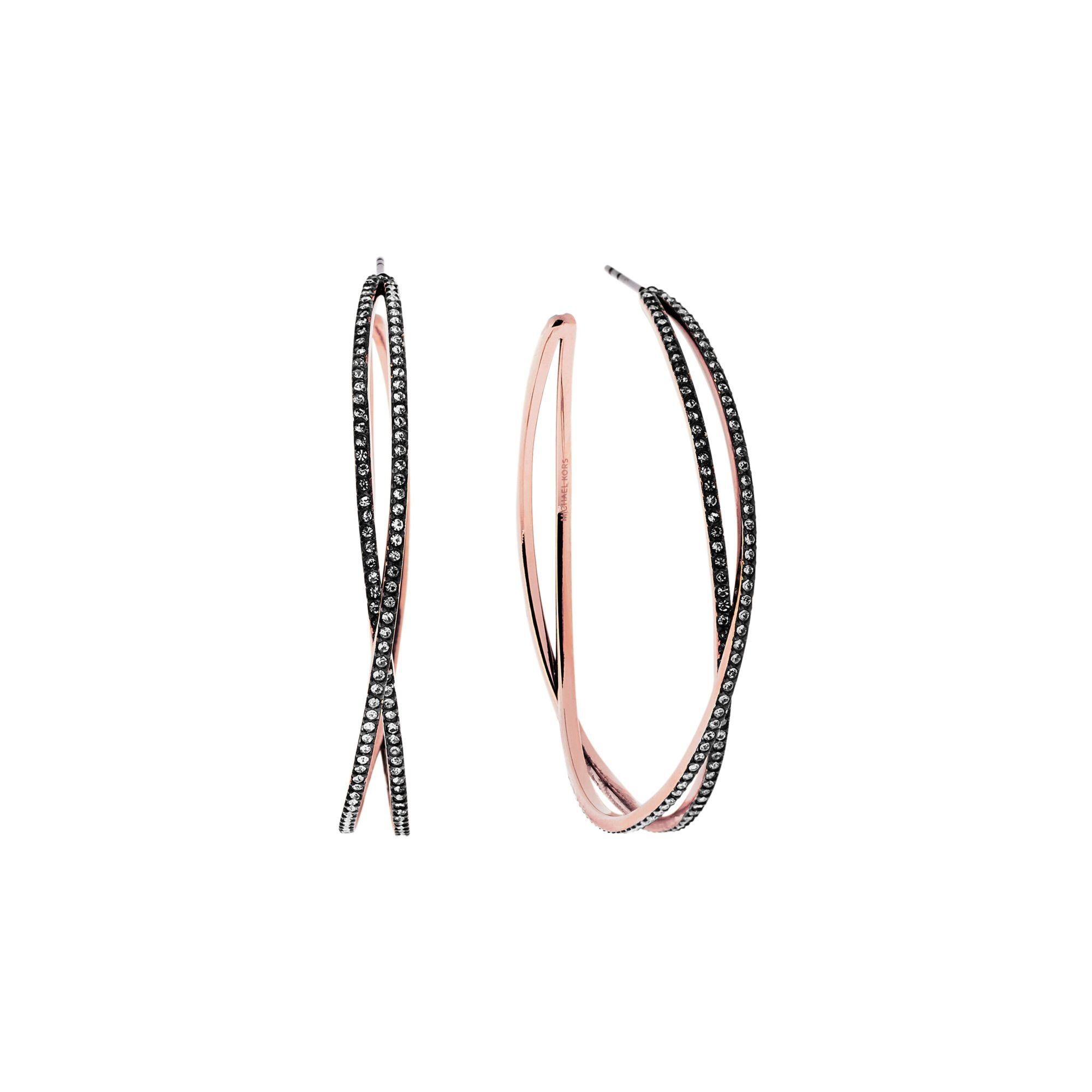 553509ec29e6 Lyst - Michael Kors Pavé Rose Gold-tone Criss-cross Hoop Earrings in ...