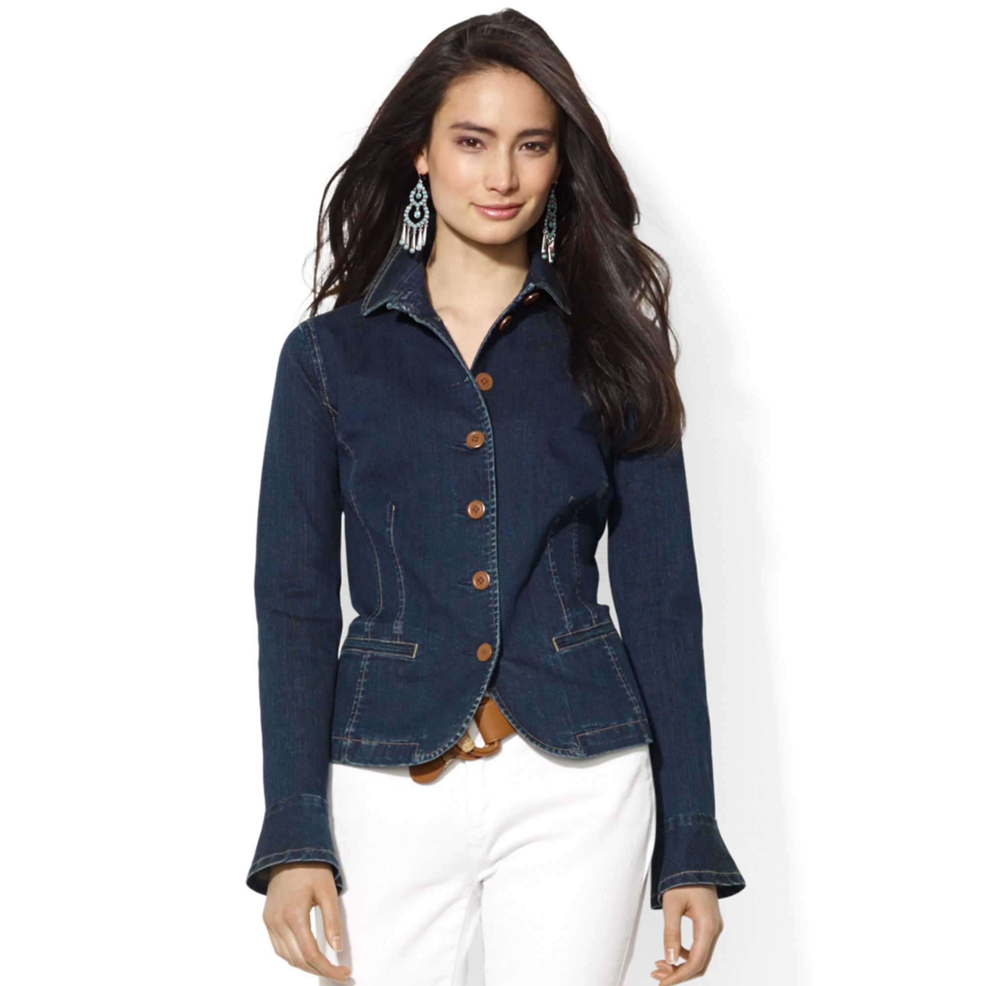 Lauren by ralph lauren Lauren Jeans Co Petite Peplum Denim Jacket in Blue | Lyst