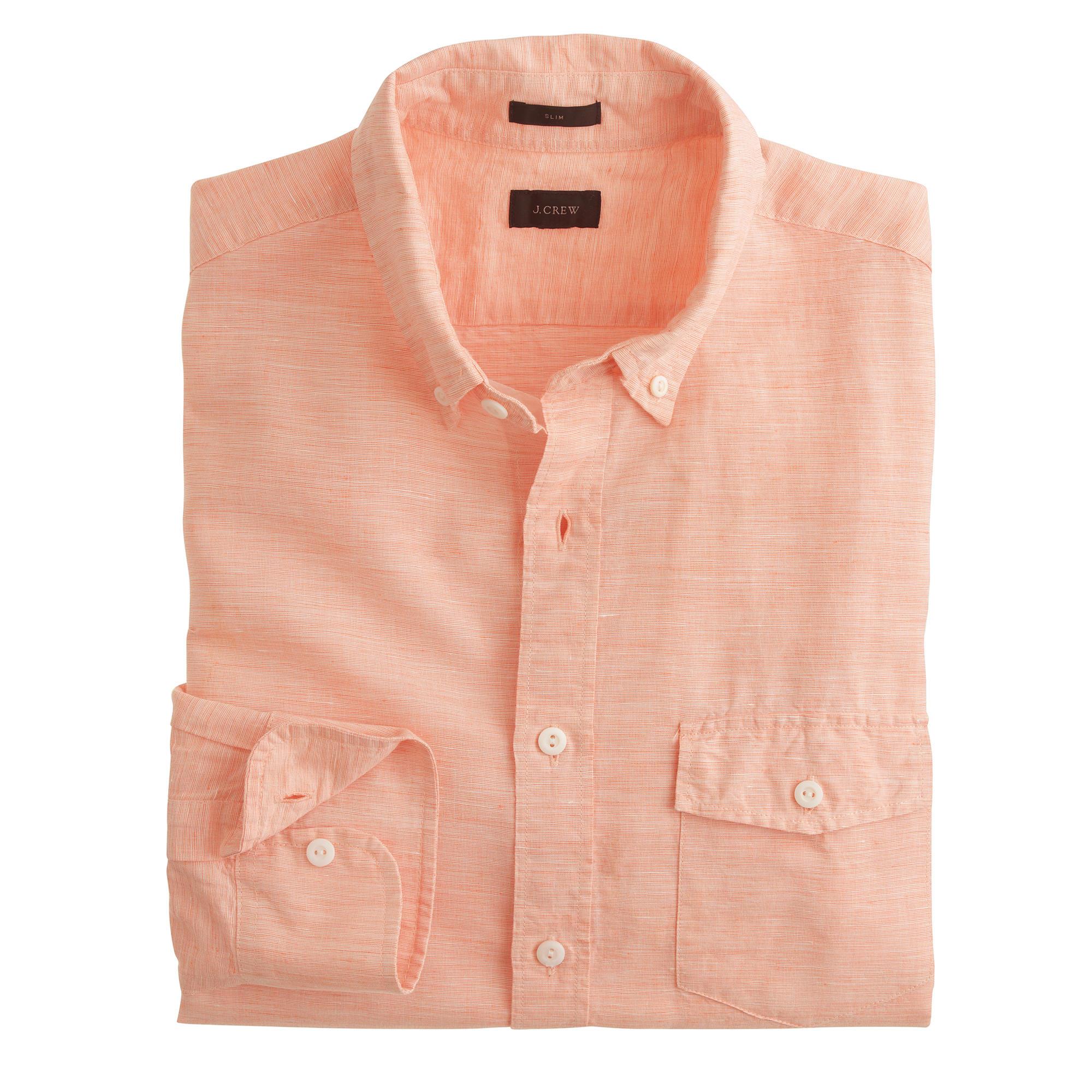 Slim irish cotton linen shirt in solid in orange for Irish linen dress shirts