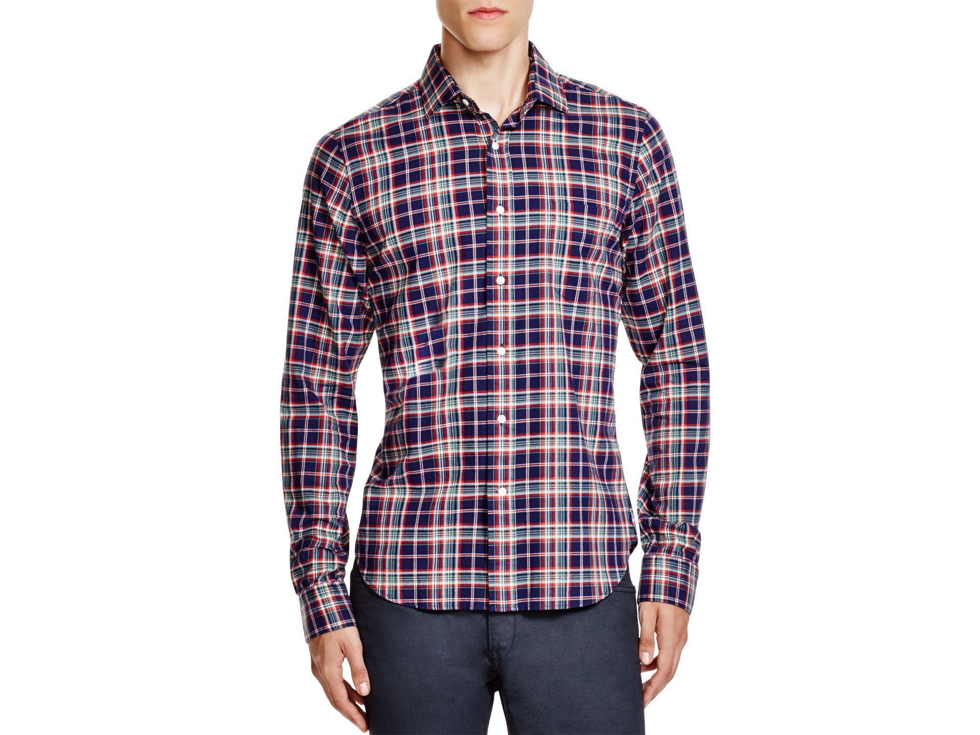 Gant rugger brushed plaid flannel slim fit button down for Mens slim fit flannel shirt