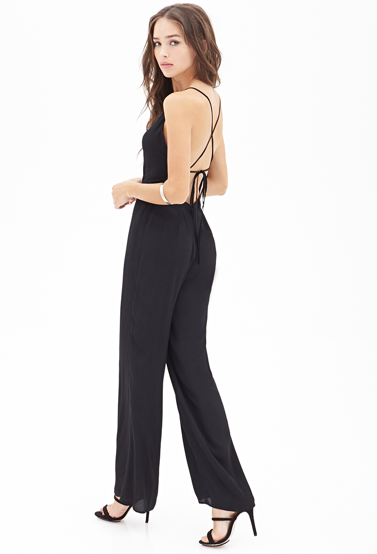 Forever 21 wide leg surplice jumpsuit in black lyst for Thigh jewelry forever 21