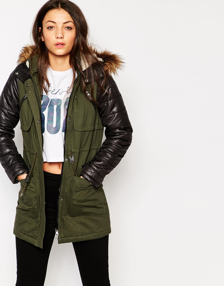 Green Parka Jacket With Leather Sleeves