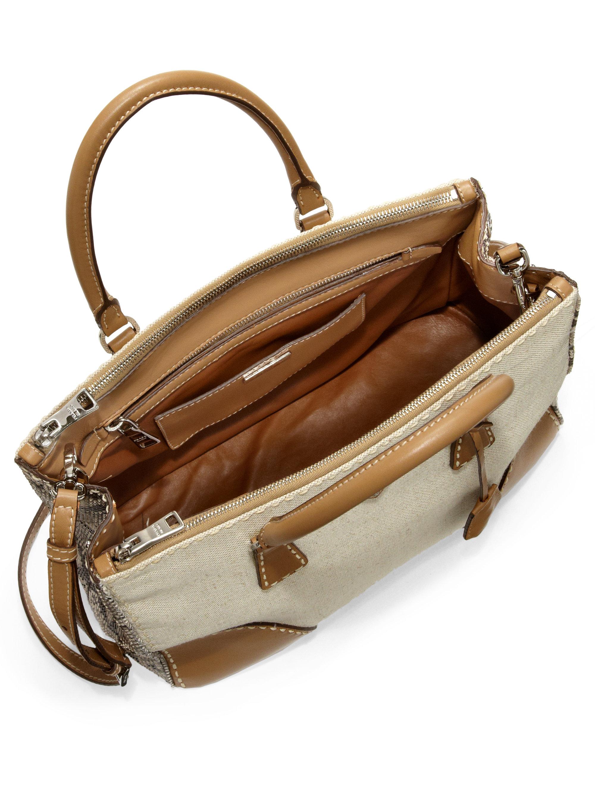 prada croc wallet - Prada Canvas \u0026amp; Python Double Bag in Brown (No Color) | Lyst