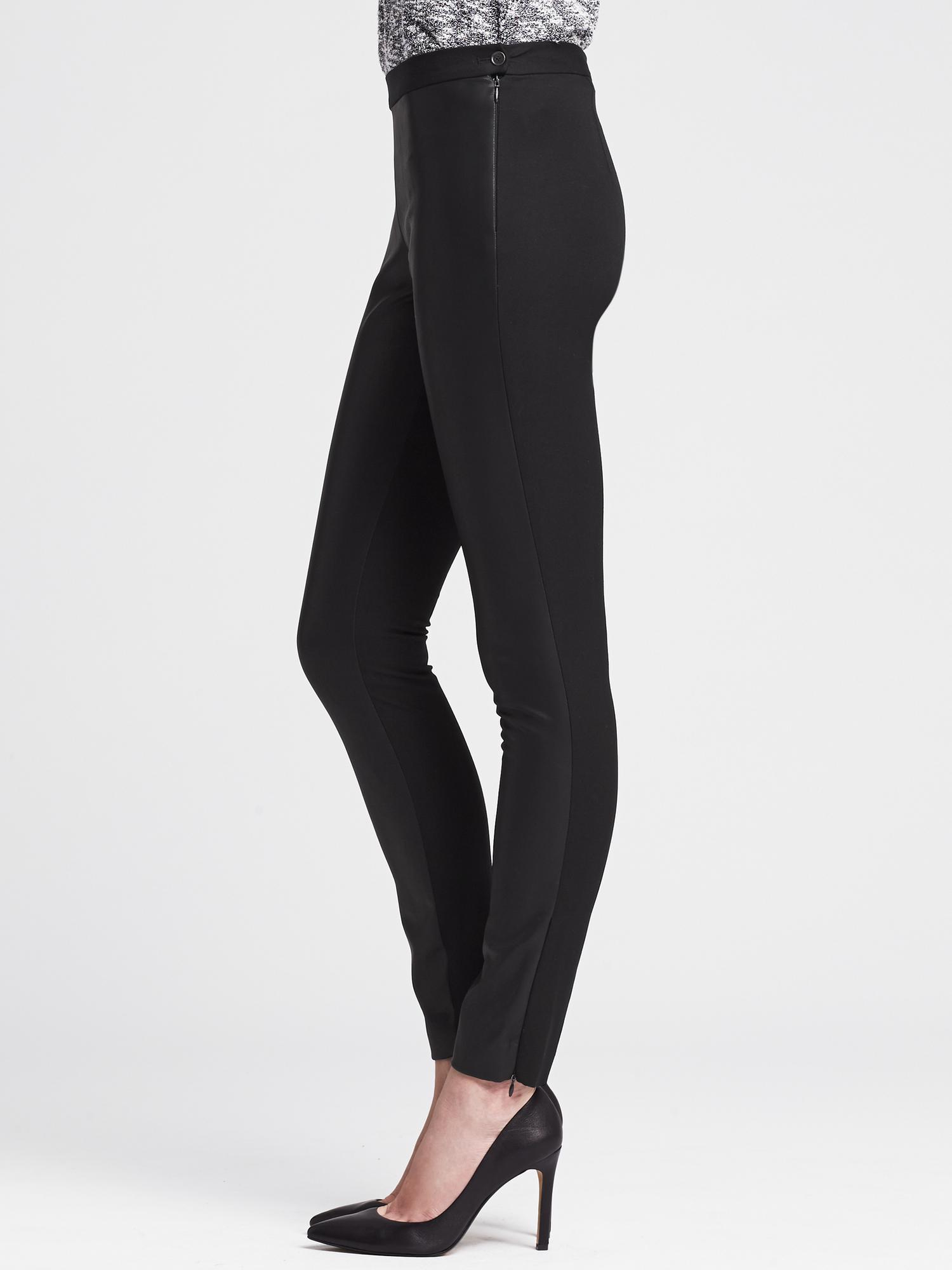 50f41fa48a8b84 Banana Republic Sloan-Fit Faux-Leather Front Legging in Black - Lyst