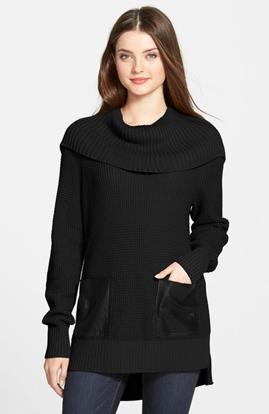 Michael michael kors Faux Leather Pocket Cowl Neck Sweater in ...