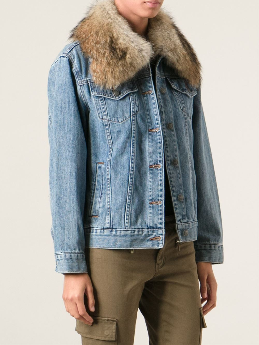 Lyst - Michael michael kors Fur Collar Denim Jacket in Blue