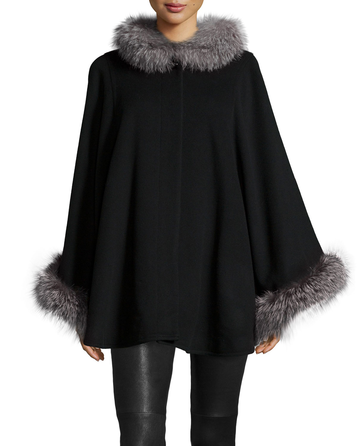 Sofia Cashmere Fur Collar Wool Cashmere Cape In Black Lyst