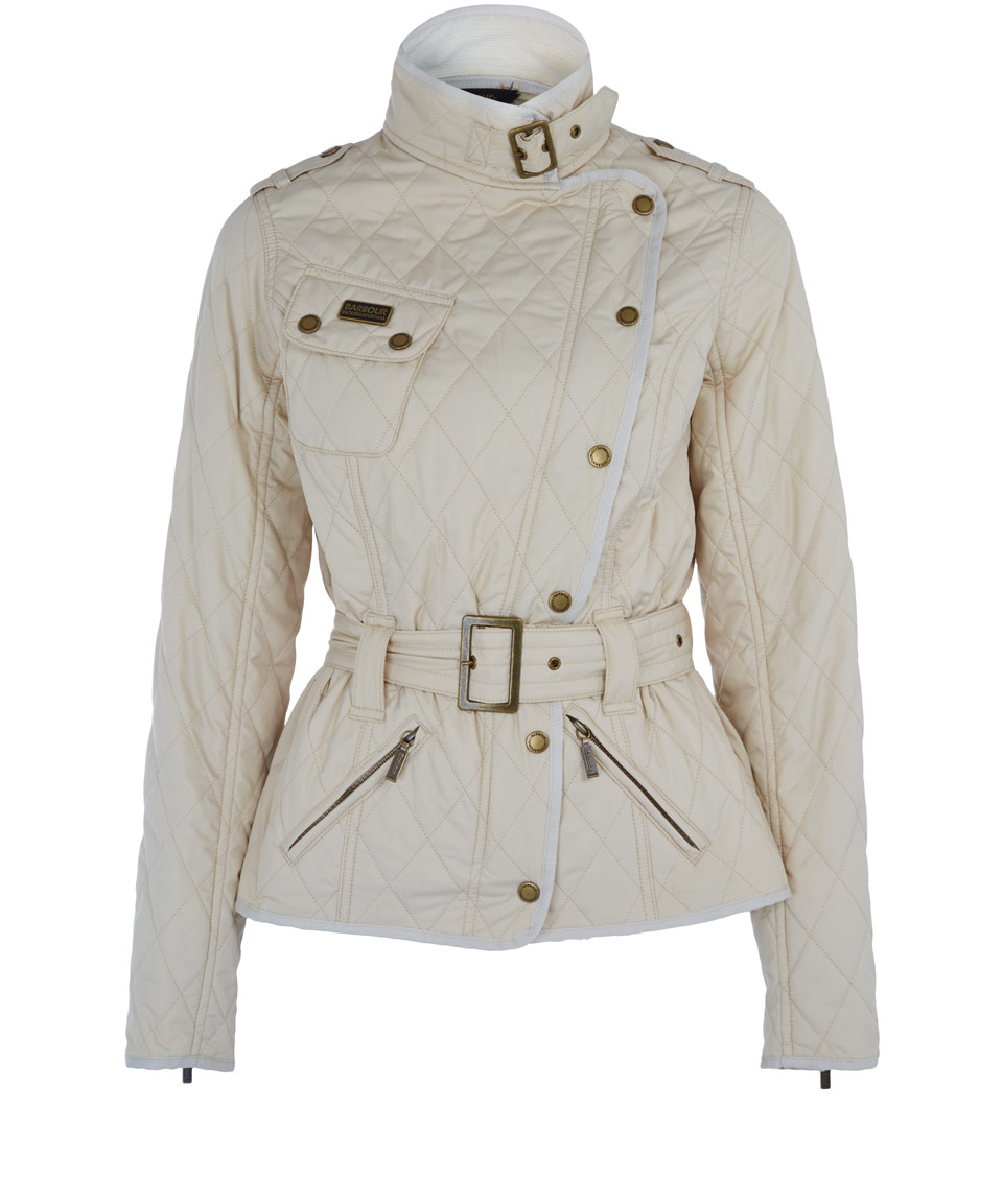 New Look quilted front and back jacket with knitted sleeves. Cream colour with zip & press stud closing. Size 14 on the label but very snug fit, more like a size