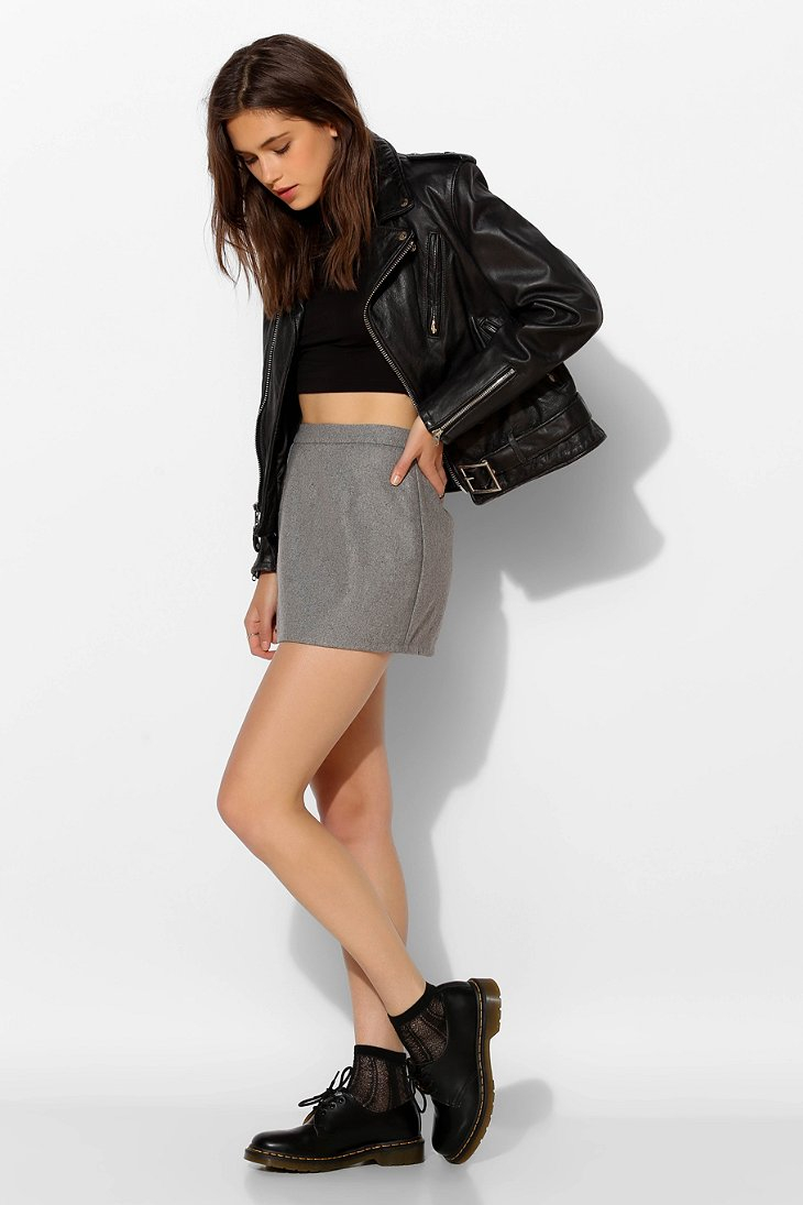 Grey A Line Mini Skirt - Dress Ala