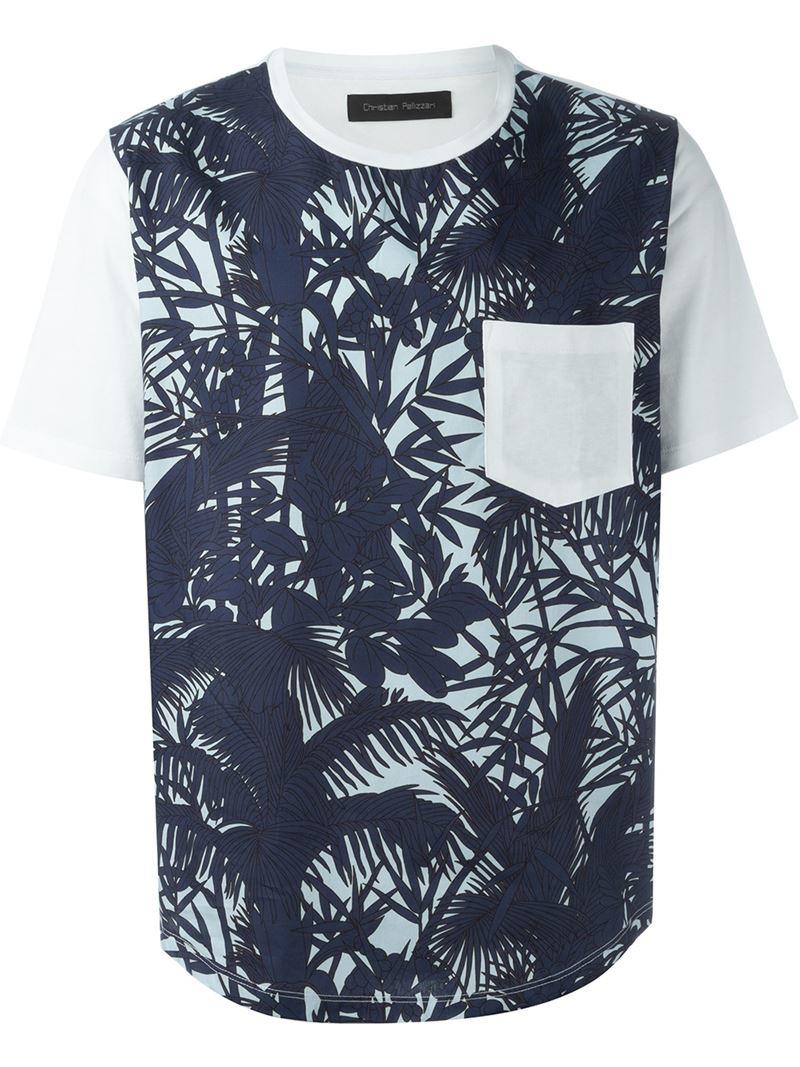 christian pellizzari palm tree print t shirt in blue for men lyst