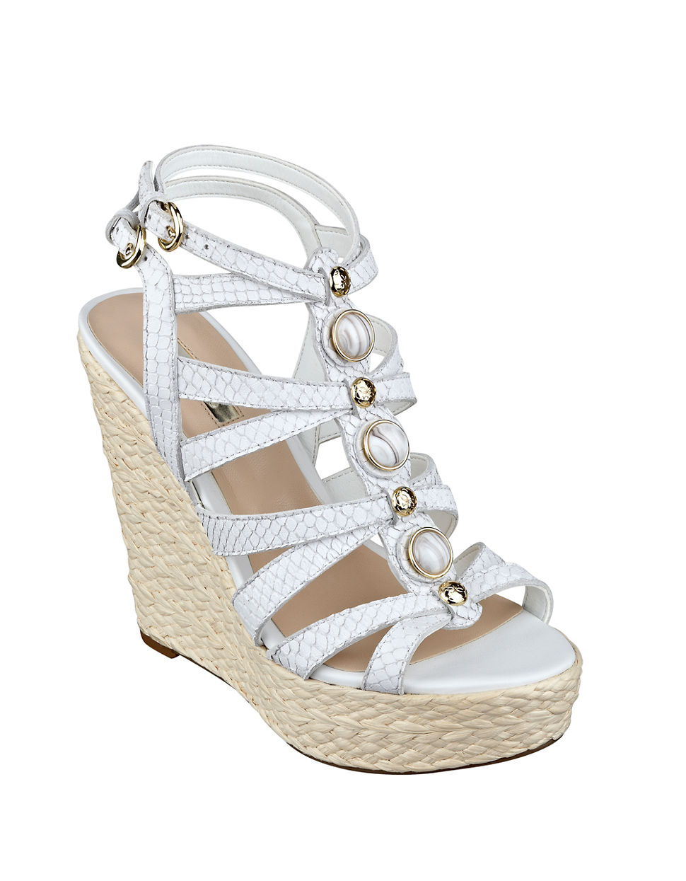 9566fab863 Guess Onixx Leather Wedge Sandals in White - Lyst