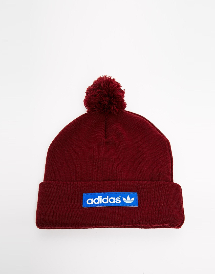 cc48c774432 ... low price lyst adidas originals logo bobble hat m30723 in red for men  594f4 c7f06