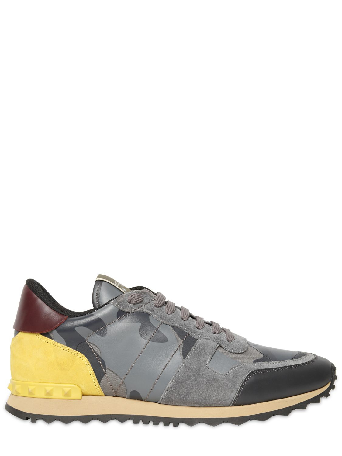valentino rockstud camo canvas leather sneakers in gray