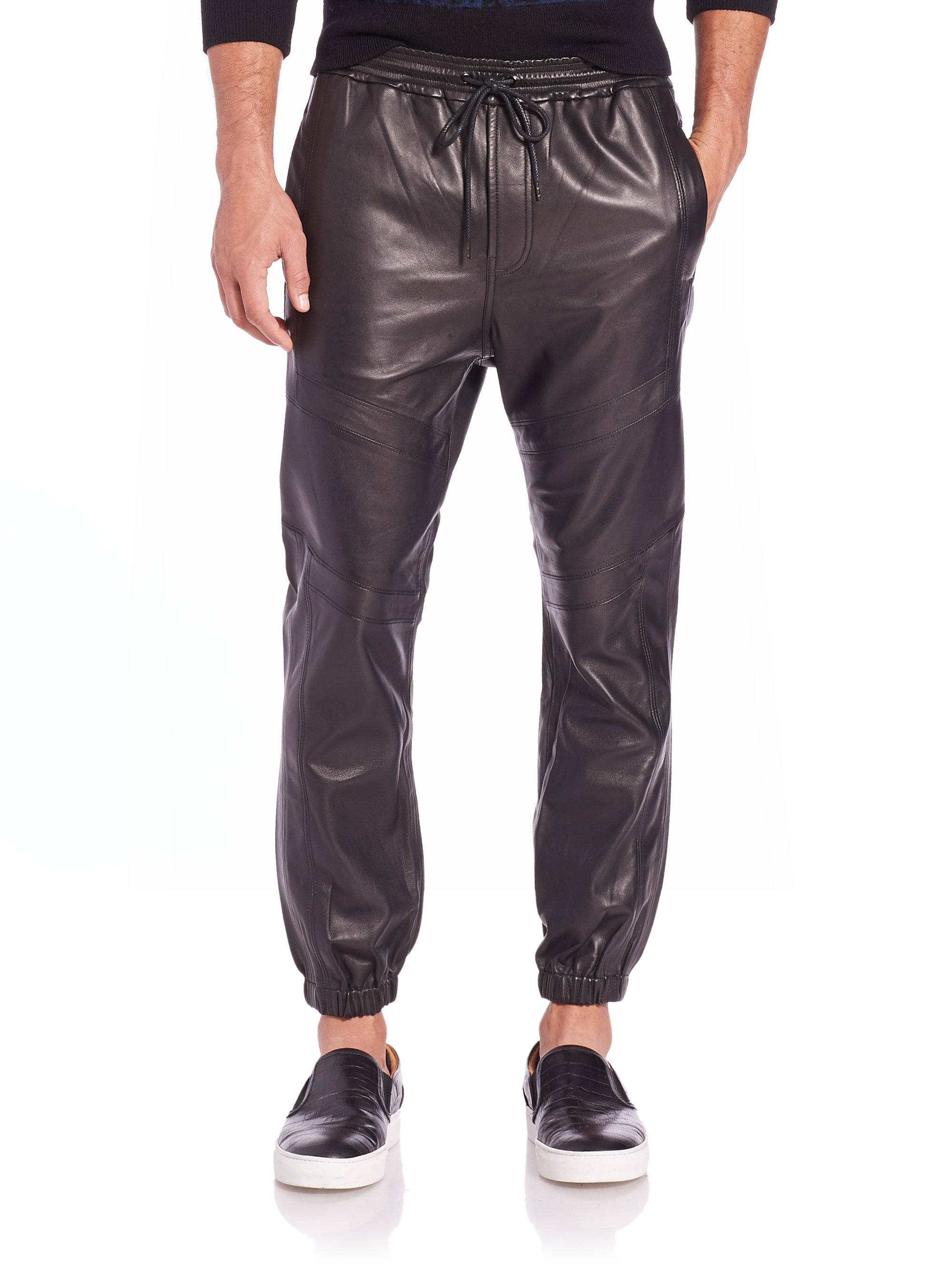 Genuine smooth Sheepskin leather sweat pants, celebrity style, similar to the design made popular by Kayne West. See our catalog under fashion leather all, for matching jackets, Tee's and baseball jersey's.