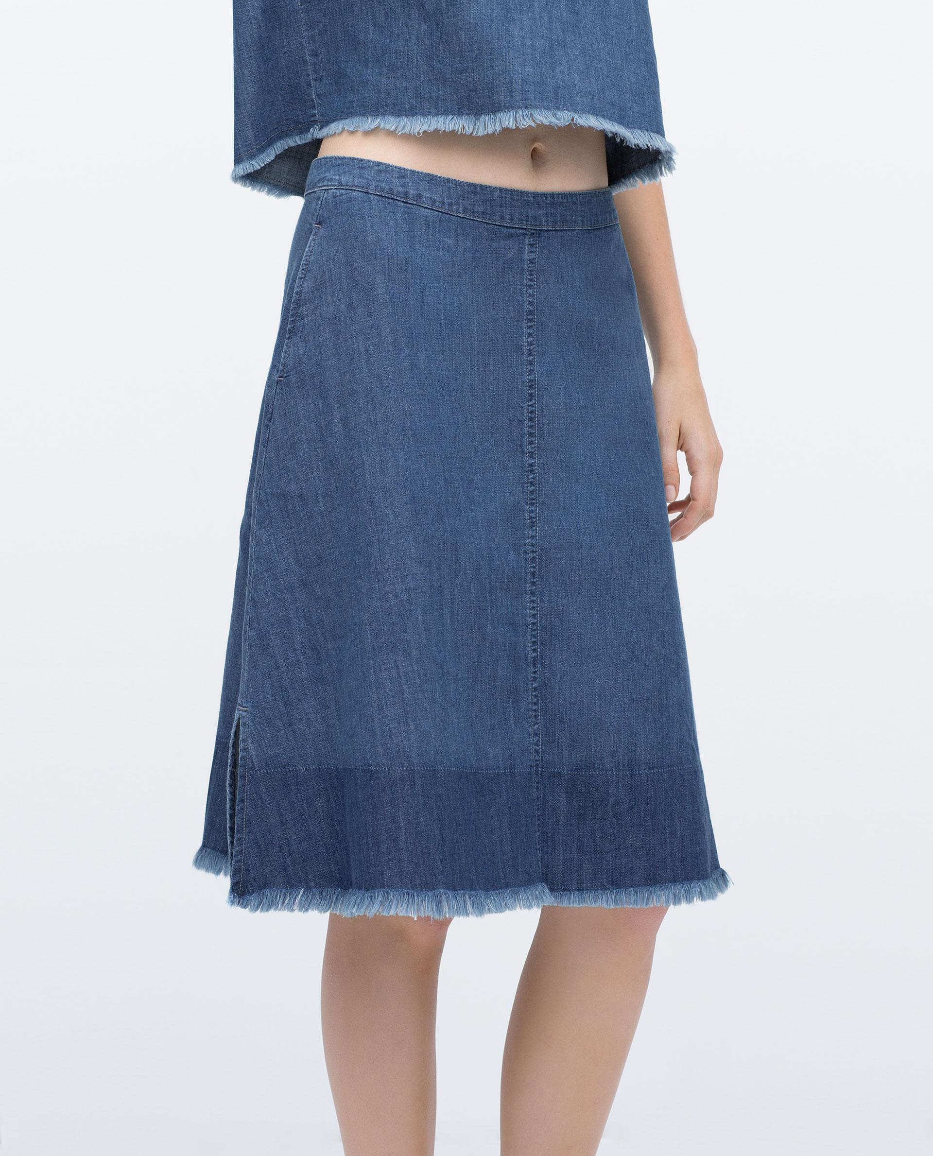 Zara Mid-length Frayed Denim Skirt in Blue | Lyst