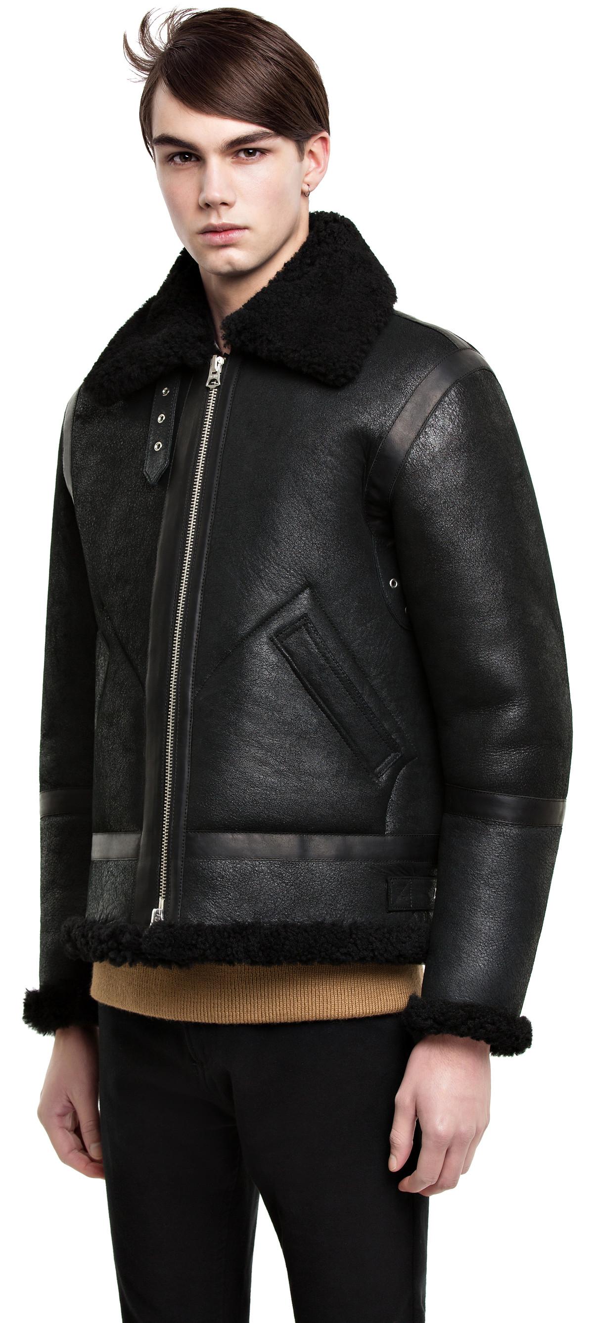 Acne Ian Shearling Black in Black for Men | Lyst