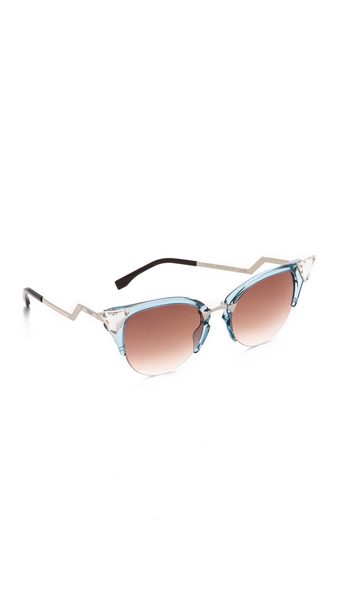 Fendi Iridia Crystal Corner Sunglasses Lyst